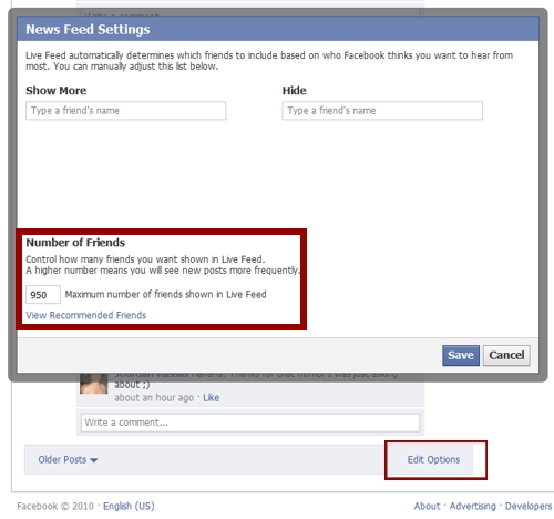 How to make your Facebook Recent Updates show all of your friends.