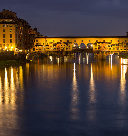 Evening Reflections - Ponte Vecchio, Italy by Alex Berger