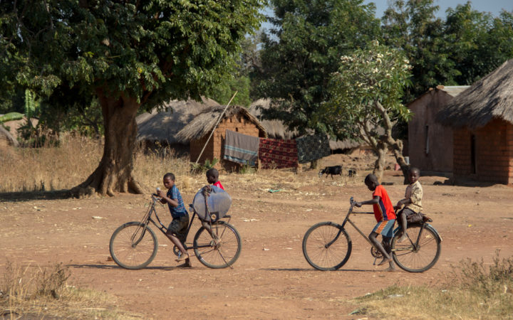 Zambian Children Biking in Africa