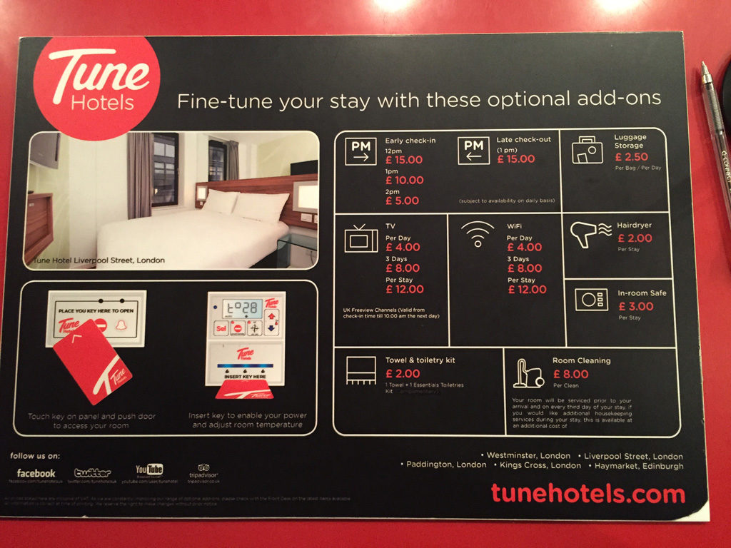 Tune Hotels Pricing July 2015